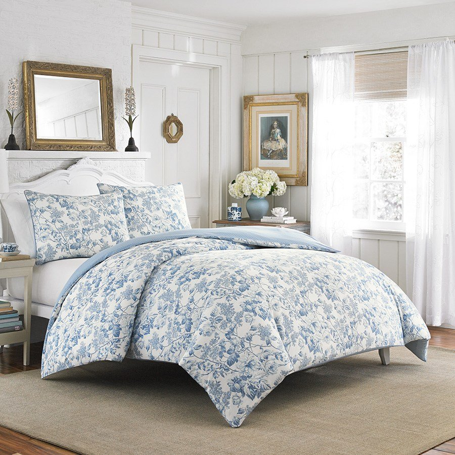 Best Laura Ashley Brompton Sophia Blue Comforter And Duvet Set With Pictures