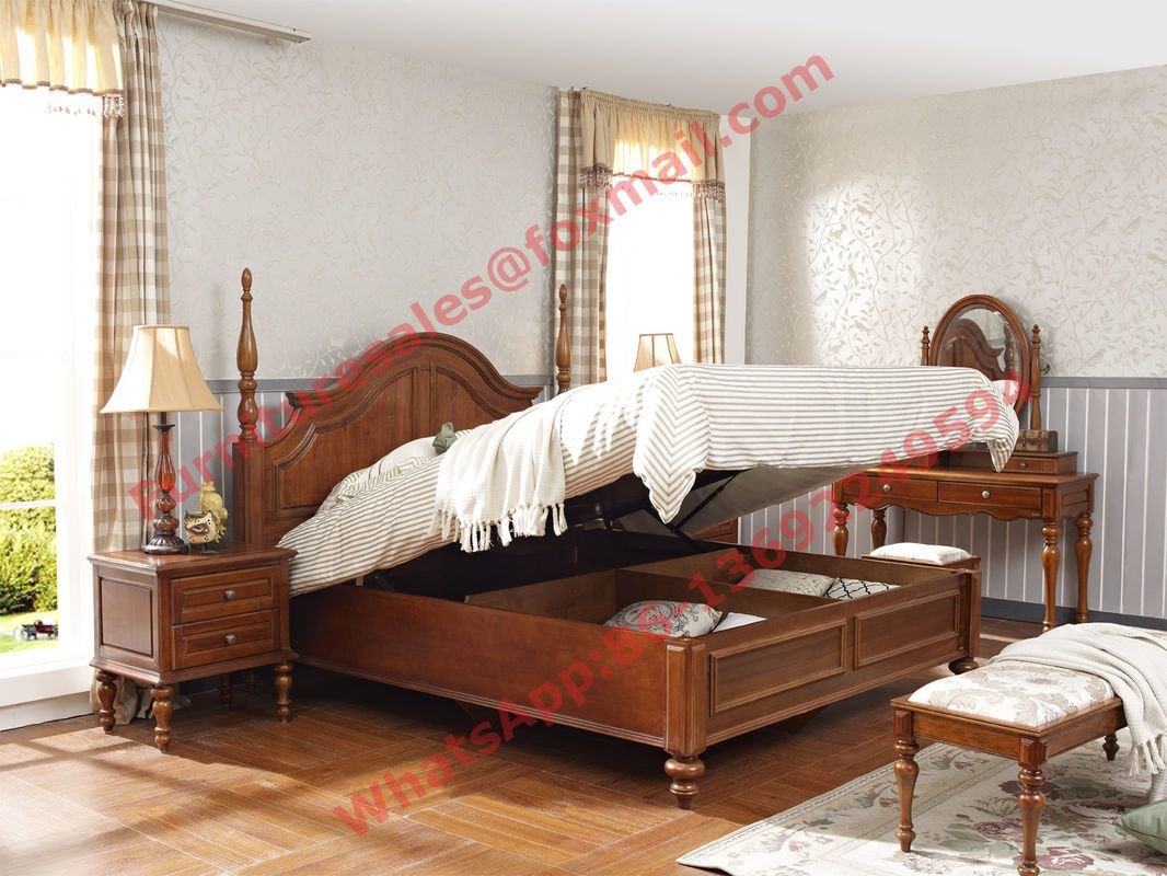 Best Ancient Rome Style Solid Wood Bed With Storage In Bedroom With Pictures