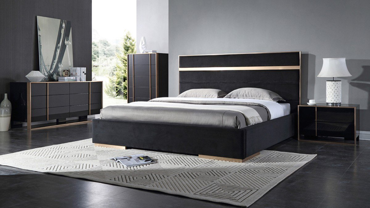 Best Nova Domus Cartier Modern Black Brushed Bronze Bedroom Set With Pictures