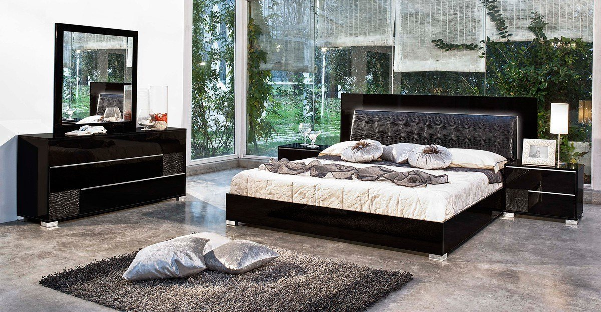 Best Modrest Grace Italian Modern Black Bedroom Set With Pictures