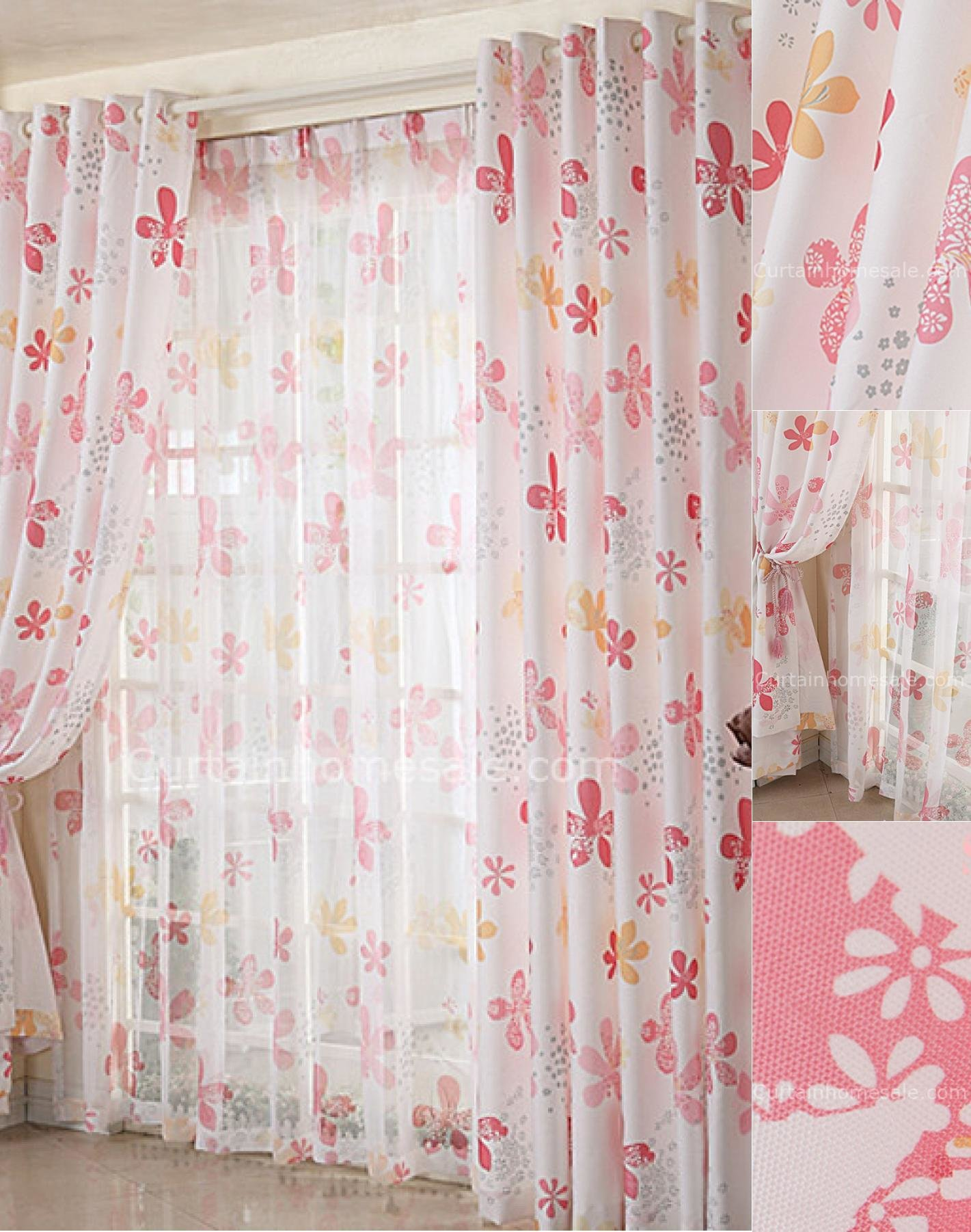 Best Beautiful Flowers Pink Bedroom Window Dressing Curtains With Pictures