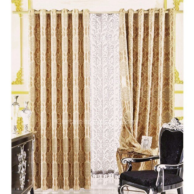 Best Cheap Bedroom Thermal Gold Jacquard Curtains With Pictures