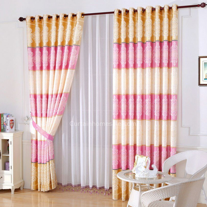 Best Romantic Pink And Gold Bedroom Curtain Chinese Style Peony With Pictures