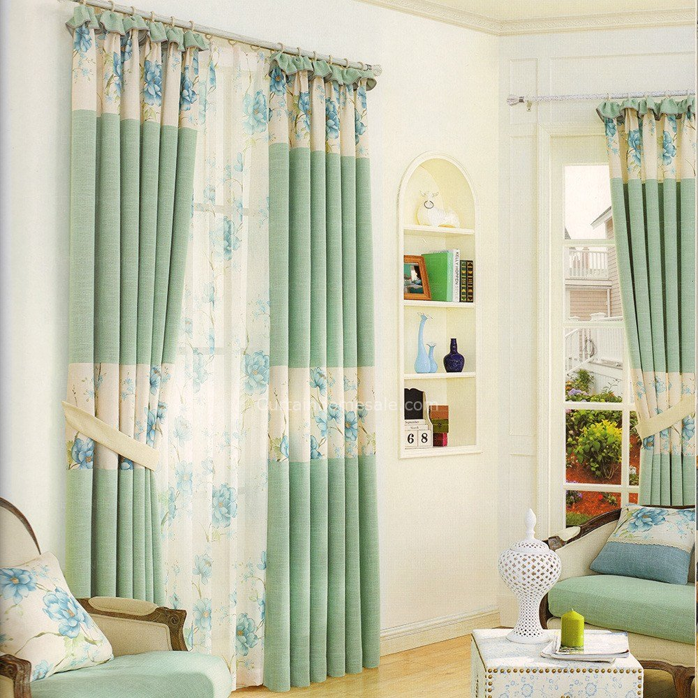 Best Floral Pattern Light Green Bedroom Curtains 2016 New Arrival With Pictures