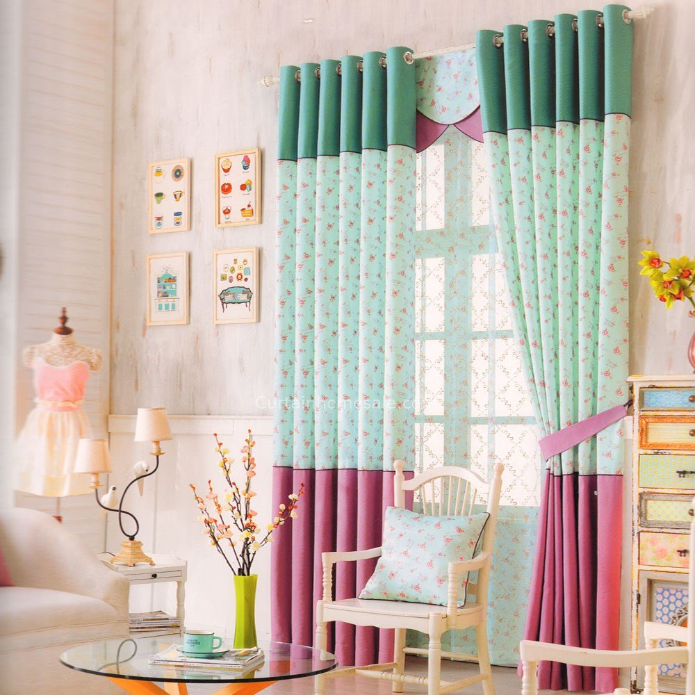 Best Chic Light Green Floral Pattern Curtains For Kid Bedroom With Pictures