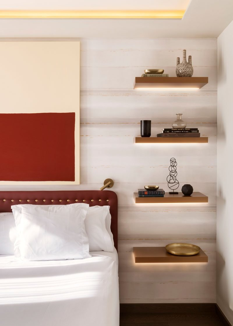 Best Bedroom Design Idea Replace A Bedside Table And Lamp With Floating Shelves And Hidden Lighting With Pictures