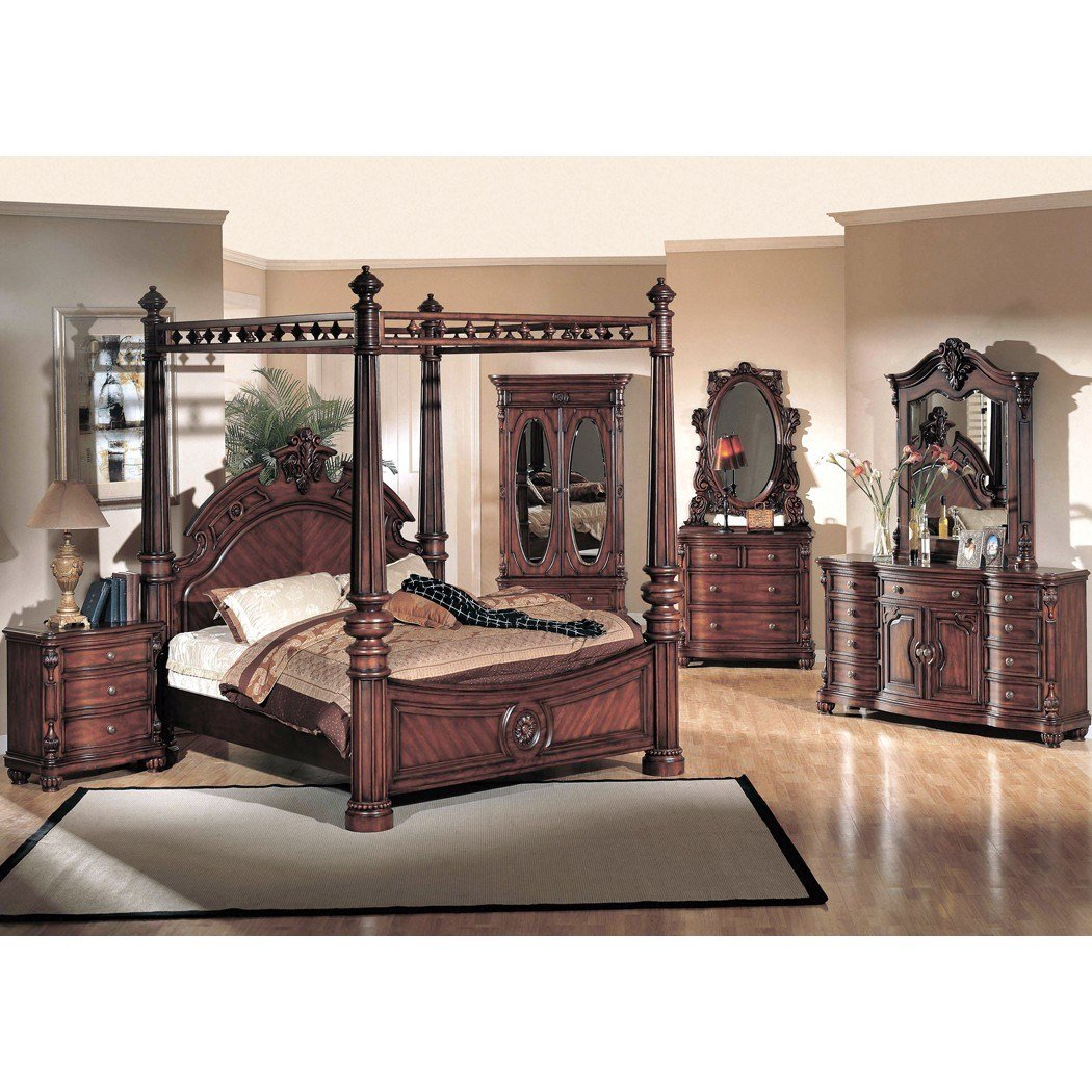 Best Yuan Tai Corina 4Pc King Size Canopy Poster Bedroom Set In With Pictures