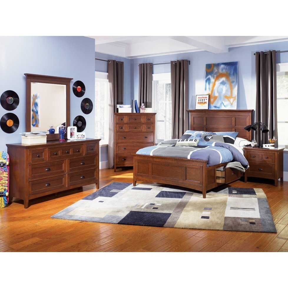 Best Magnussen Riley 4Pc Full Size Storage Panel Bedroom Set In Cherry Finish For 2 359 96 In With Pictures