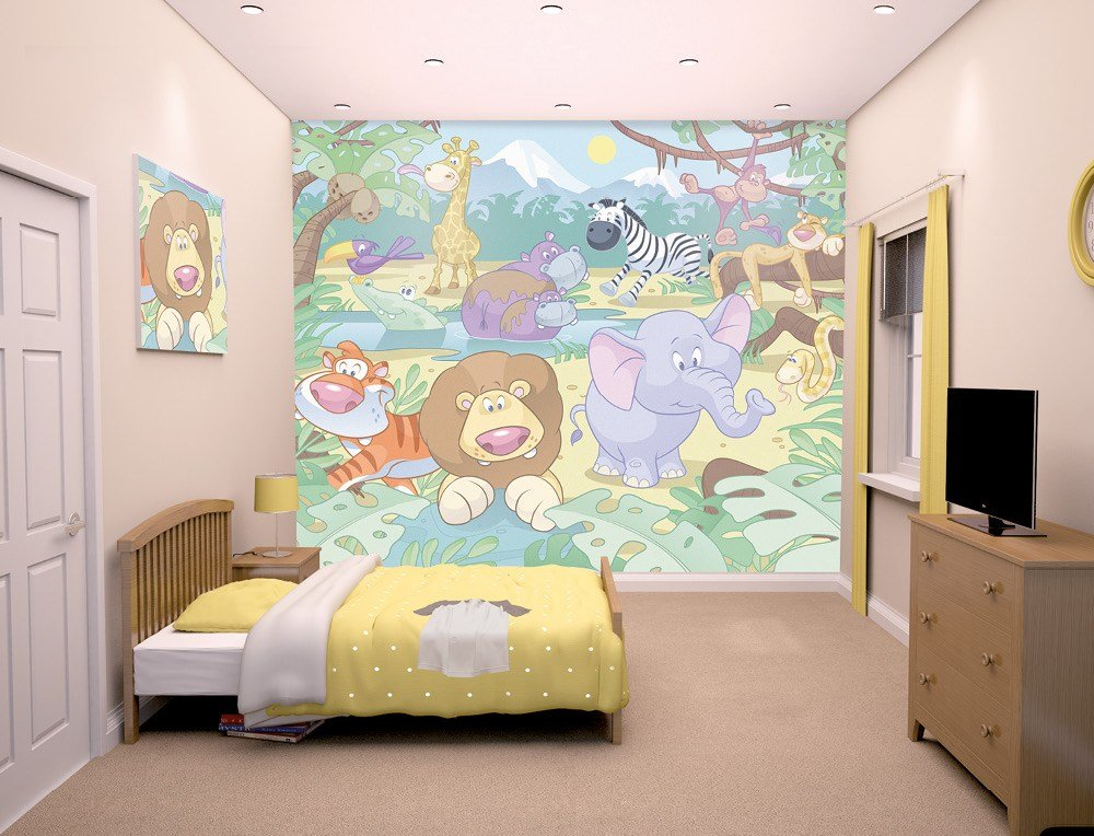 Best Baby Jungle Safari Bedroom Mural 10Ft X 8Ft Walltastic With Pictures