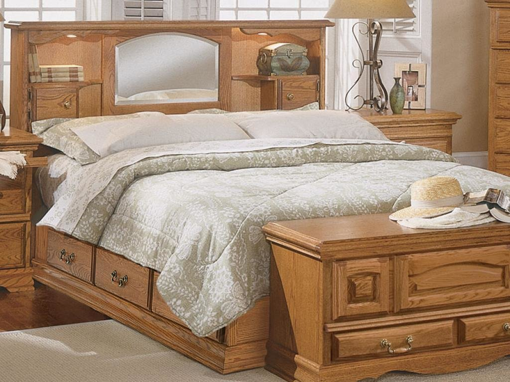 Best Wooden Bed With Mirrored Headboard Bedroom Set Home With Pictures