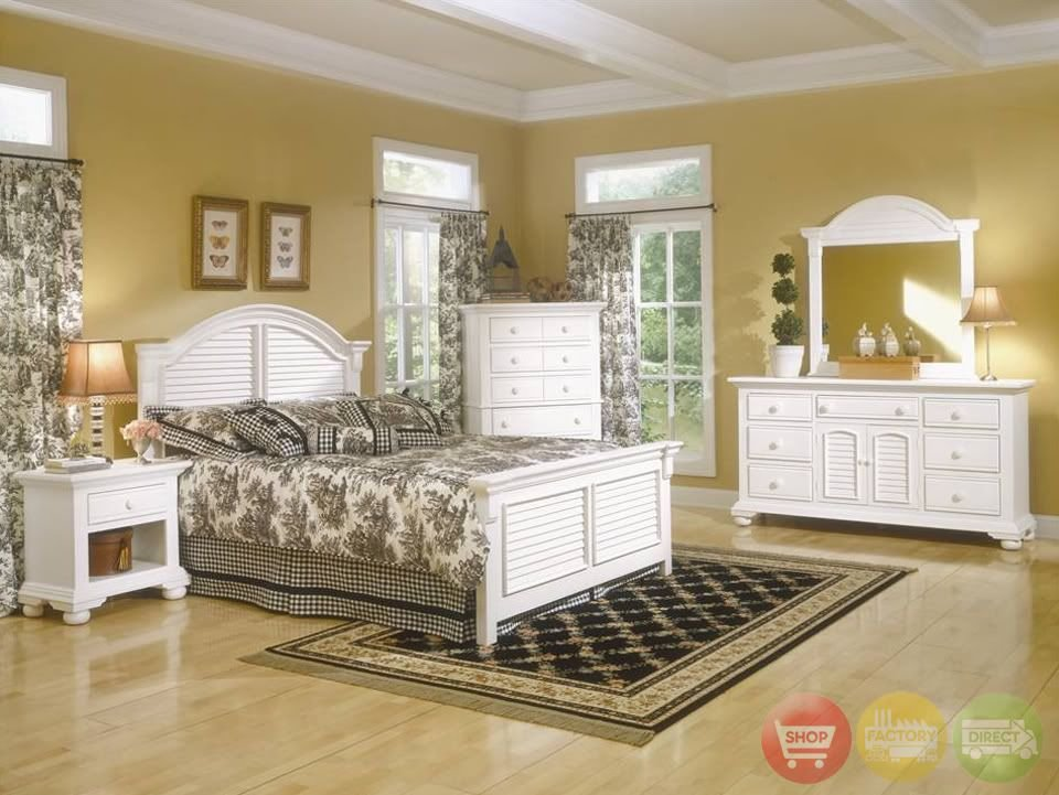 Best Cottage Traditions King White Louvered Panel Bed 4 Piece Bedroom Furniture Set Ebay With Pictures