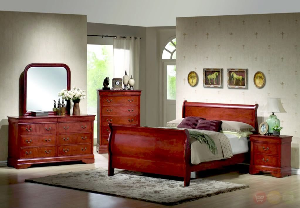 Best Louis Philippe Queen Sleigh Bed Cherry Wood Bedroom Set Ebay With Pictures