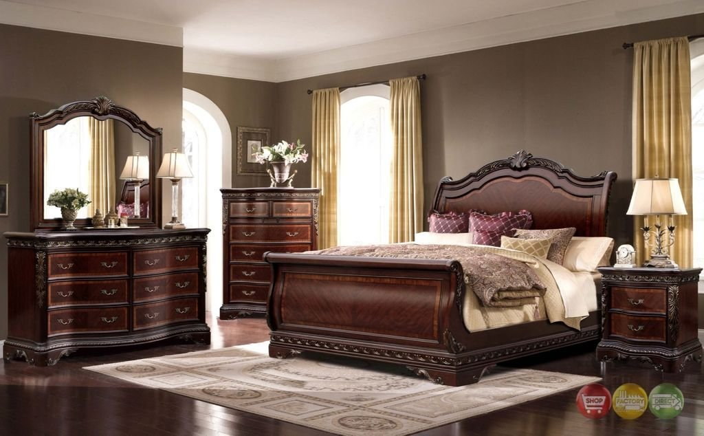Best Bella Traditional King Sleigh 4Pc Bedroom Set W Mahogany With Pictures