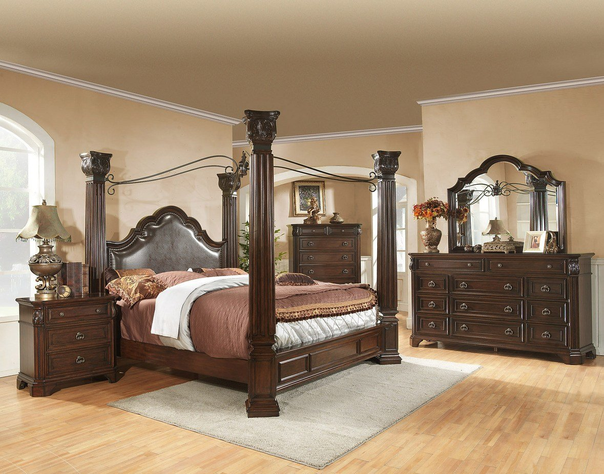 Best King Size Brown Cherry Canopy Bedroom Set Drawer Guides With Pictures