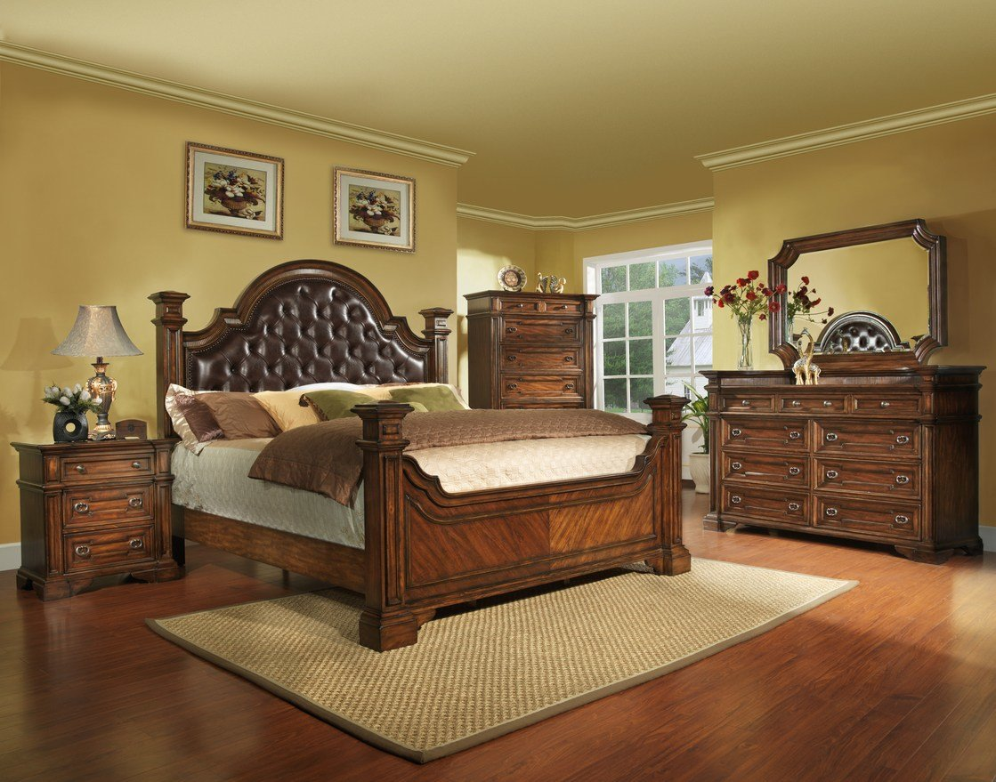 Best King Size Antique Brown Bedroom Set Wood Free Shipping 5 Piece Ebay With Pictures
