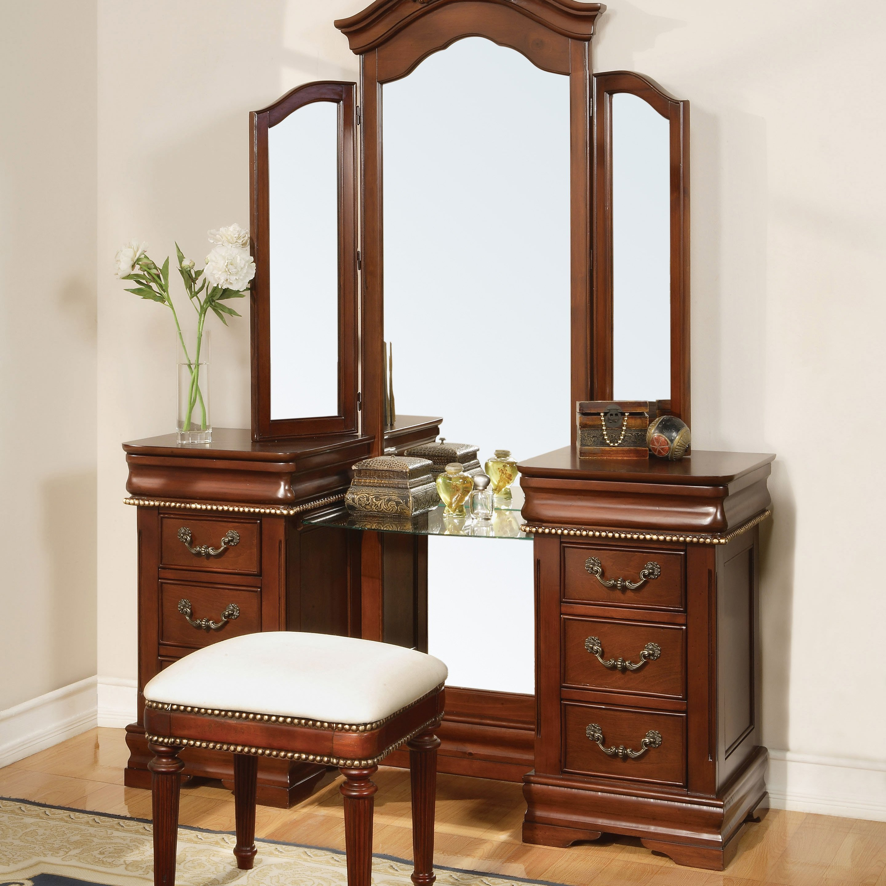 Best Chalet Cherry Arch Top Bedroom Vanity Set At Hayneedle With Pictures