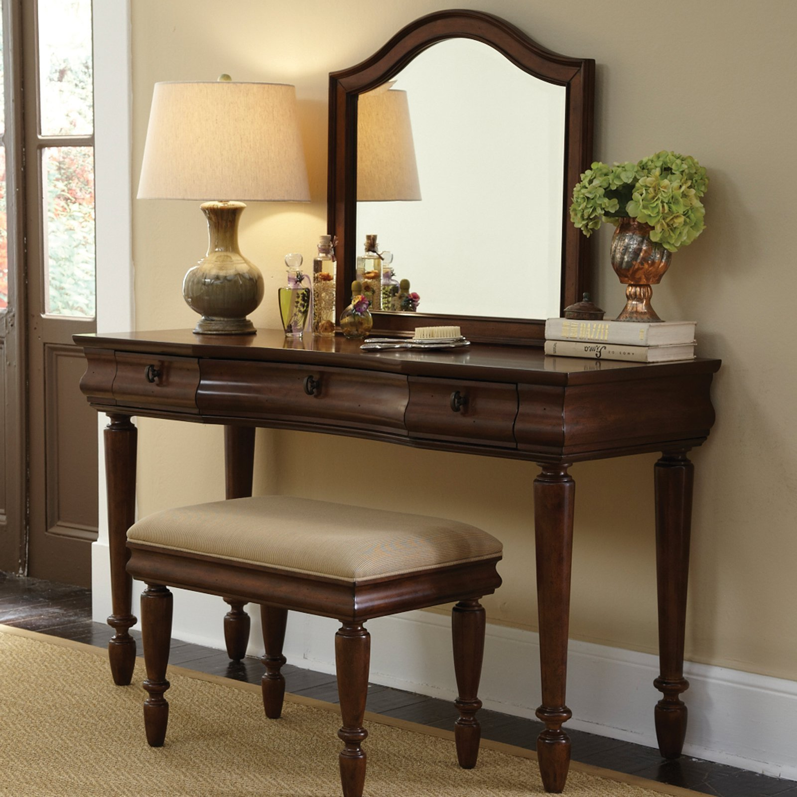 Best Rustic Traditions Bedroom Vanity Set Rustic Cherry At With Pictures