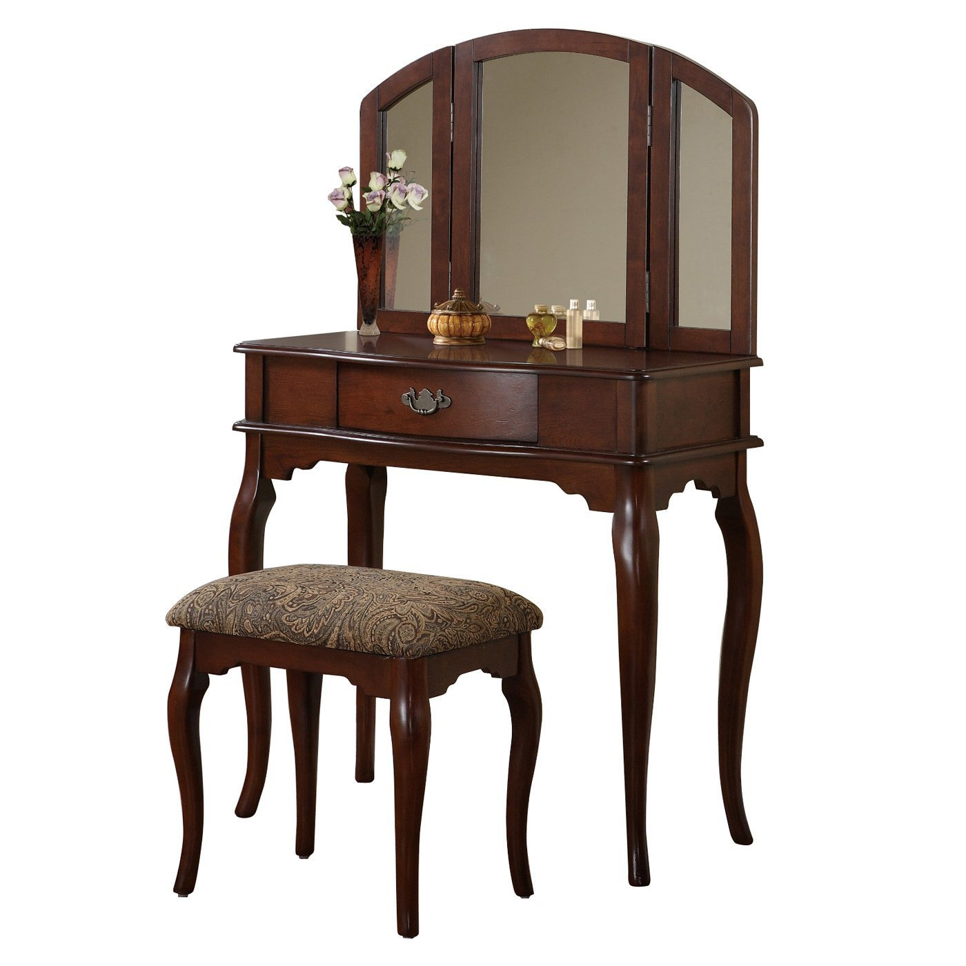 Best Poundex Furniture F406 Bobkona Jaden Vanity Set With Stool With Pictures