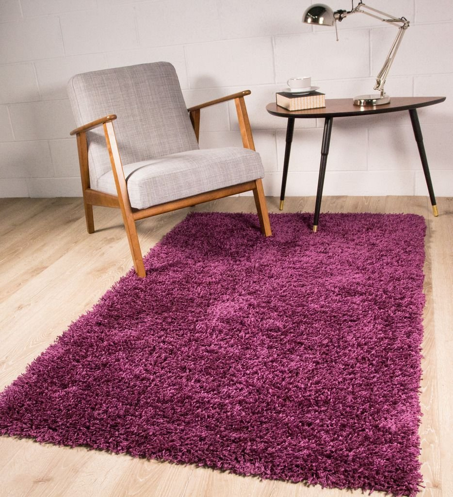 Best Plum Purple Heather Rich Dark Shaggy Area Rug For Living Room Bedroom 110X160Cm Ebay With Pictures