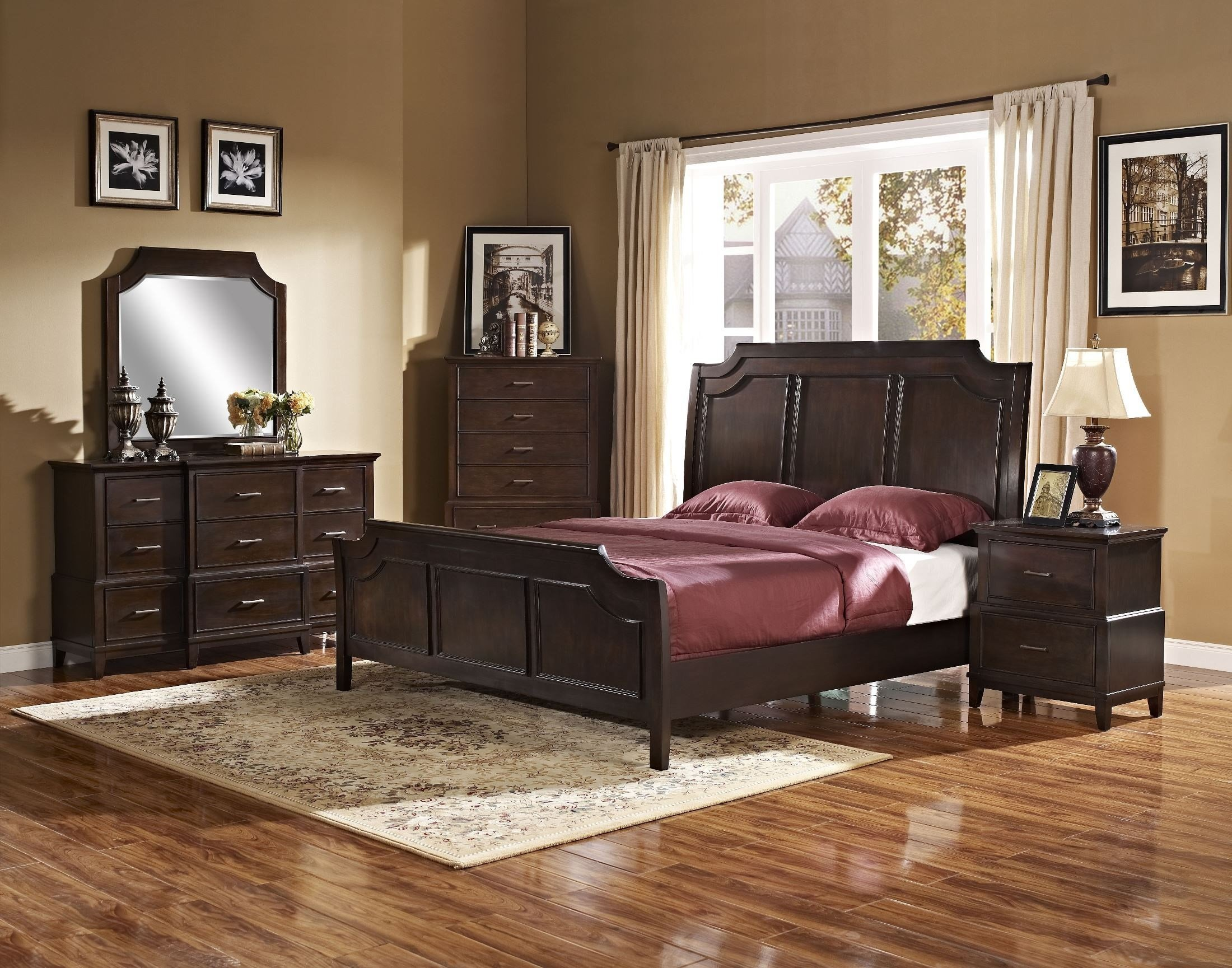 Best Highland Park Distressed Walnut Panel Bedroom Set From New With Pictures