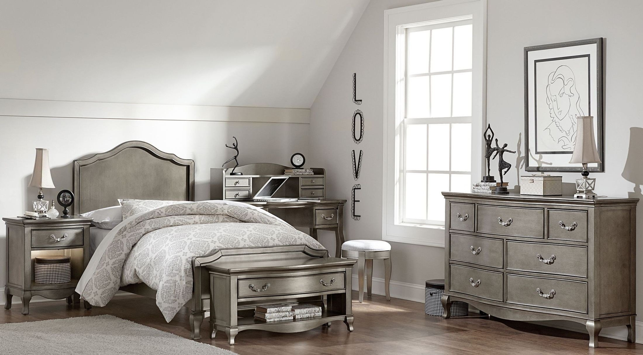 Best Kensington Antique Silver Charlette Youth Panel Bedroom With Pictures