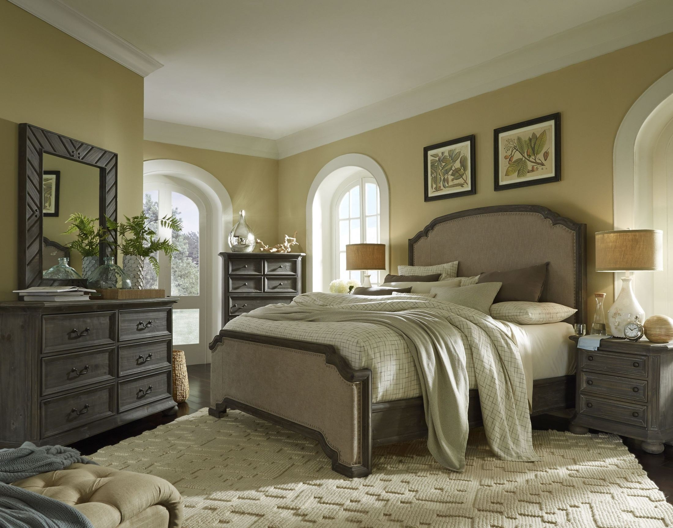 Best Cheswick Washed Linen Grey Upholstered Panel Bedroom Set B4095 57H 57F 57R Magnussen Home With Pictures