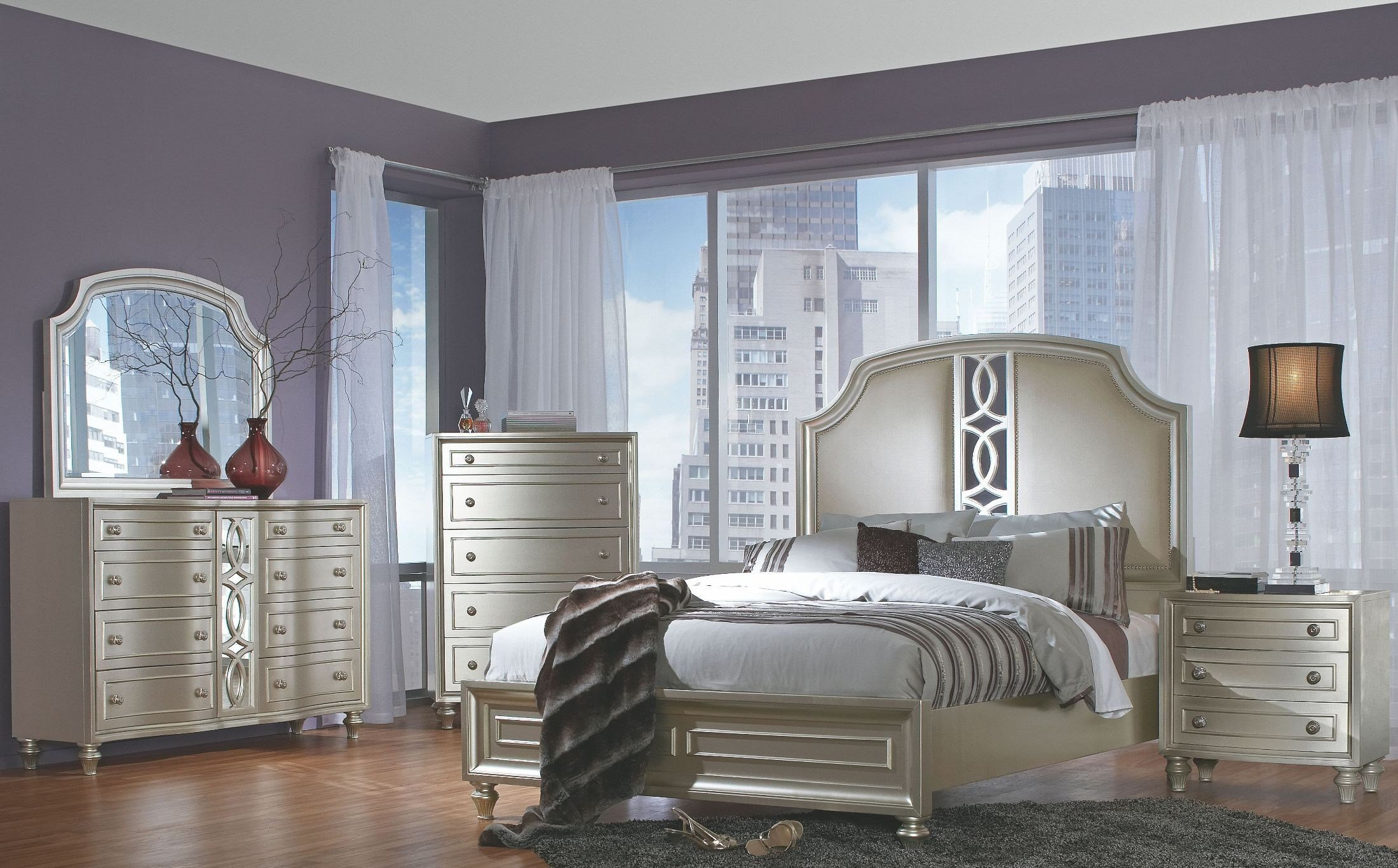 Best Regency Park Pearlized Silver Panel Bedroom Set B00481 5H With Pictures