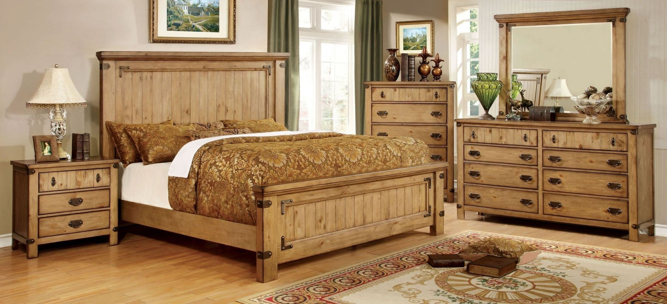 Best Pioneer Burnished Pine Bedroom Set From Furniture Of With Pictures