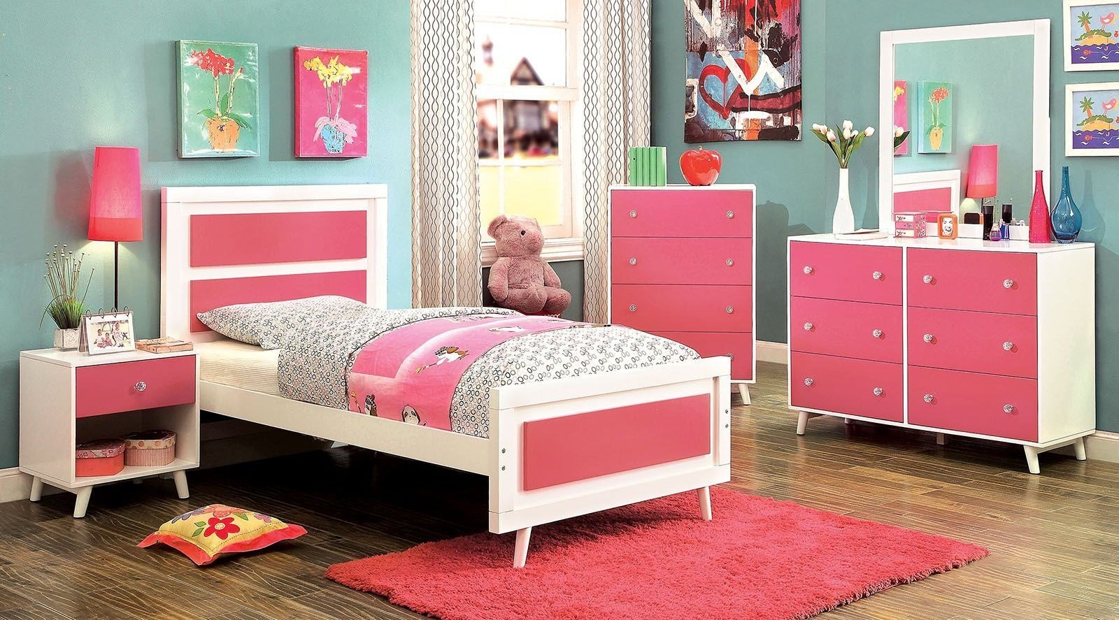 Best Alivia Youth Pink And White Platform Bedroom Set Cm7850Pk With Pictures