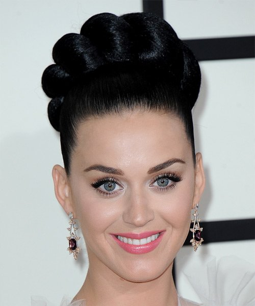 Free Katy Perry Long Straight Formal Updo Hairstyle Black Wallpaper