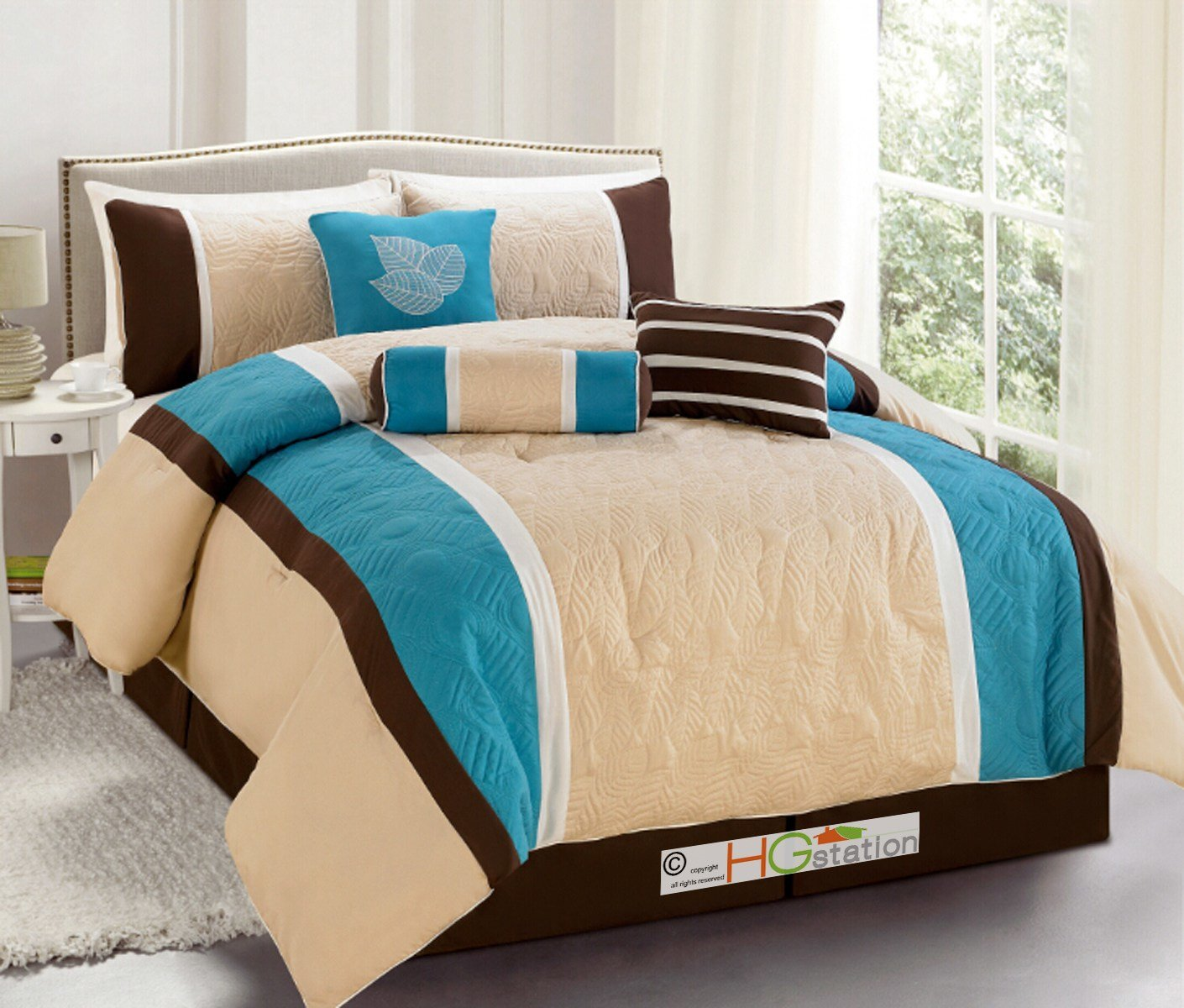 Best 7P Quilted Botanical Garden Comforter Set Turquoise Blue With Pictures