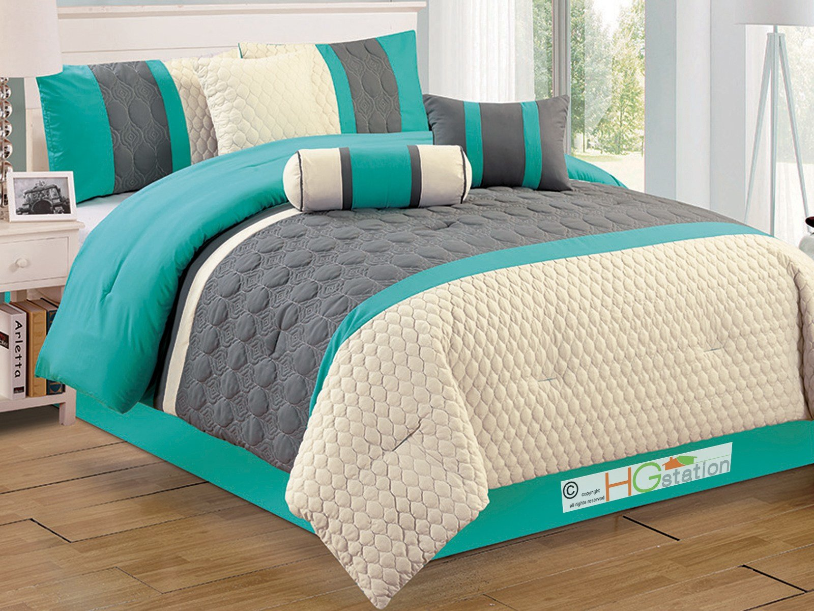 Best 7 P Dani Quilted Trellis Geometric Comforter Set Gray With Pictures