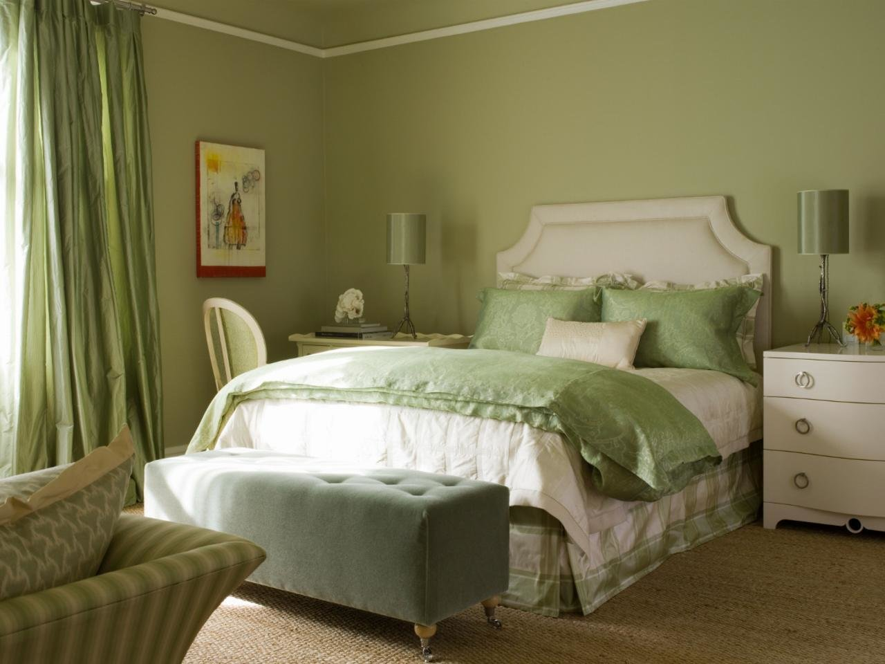 Best Sophisticated Bedroom In Shades Of Green And White Hgtv With Pictures