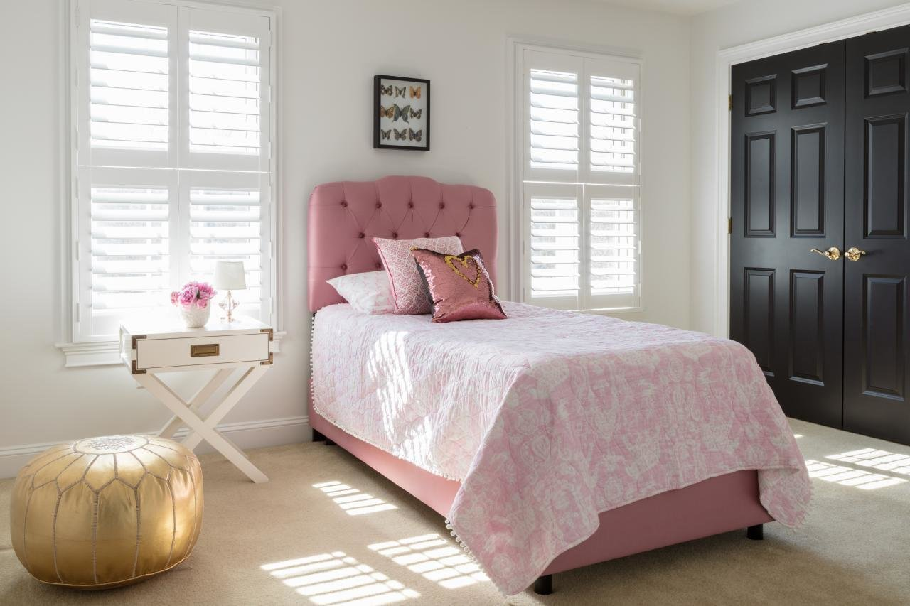 Best Girl S Bedroom With Pink Bed White Shutters And Gold Pouf With Pictures
