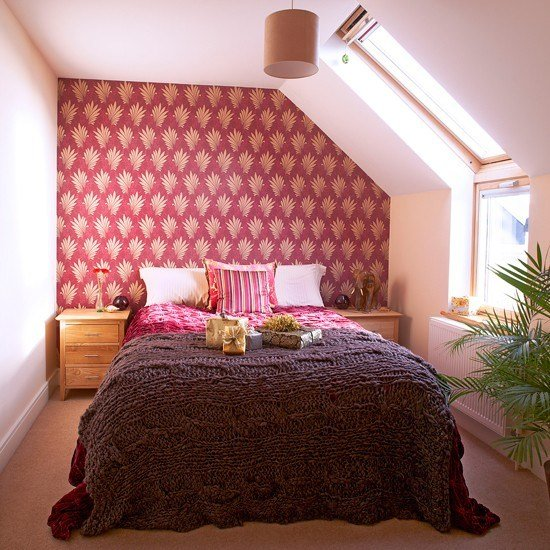 Best Red And White Bedroom With Patterned Wallpaper With Pictures