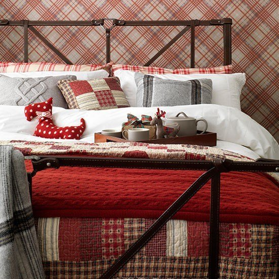 Best Country Bedroom With Red Tartan Wallpaper Decorating With Pictures