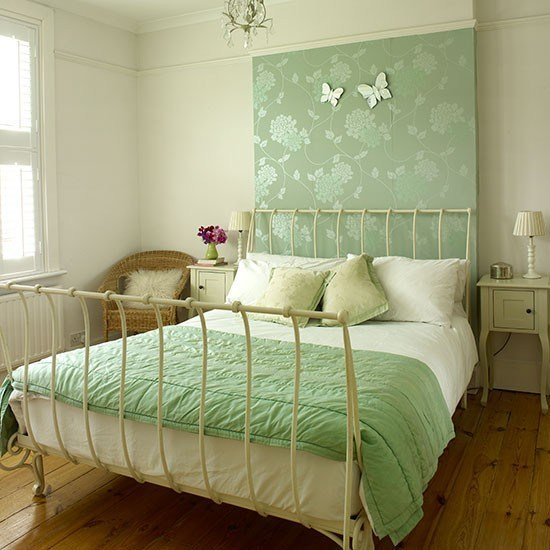 Best Cream Bedroom With Green Wallpaper Panel Decorating With Pictures