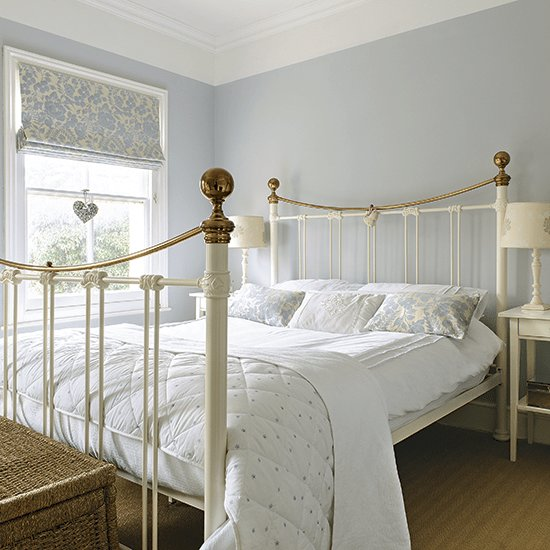 Best Pale Blue Bedroom With Traditional White Bed Frame With Pictures