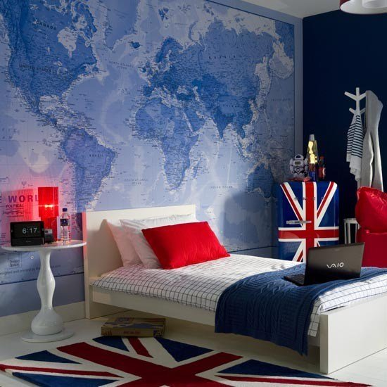 Best Teenage Boy's Bedroom With Map Mural Teenage Boy S Room With Pictures