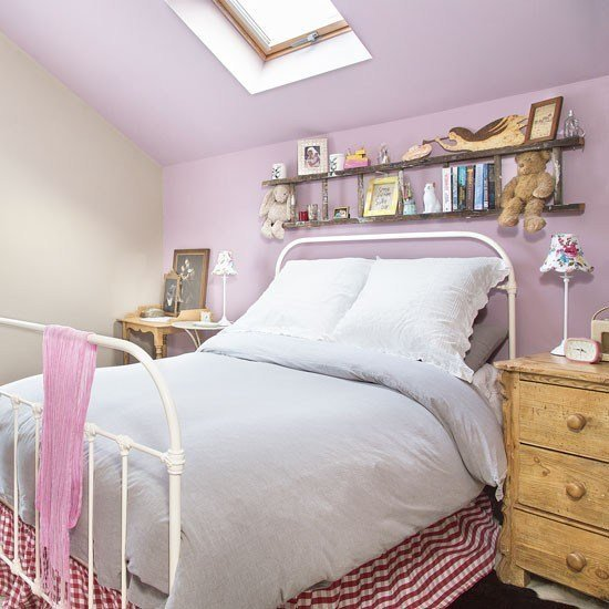 Best Eaves Bedroom With Purple Feature Wall Decorating With Pictures