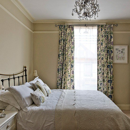 Best Neutral Country Bedroom With Blue Floral Curtains With Pictures
