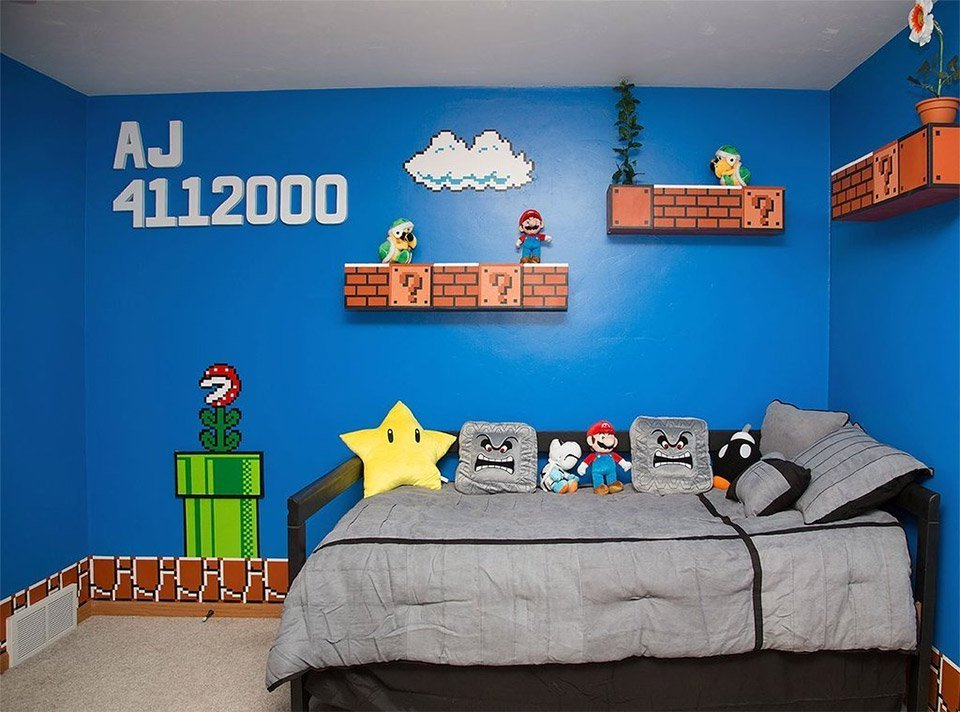 Best Cool Parents Make Super Awesome Super Mario Room For Their With Pictures