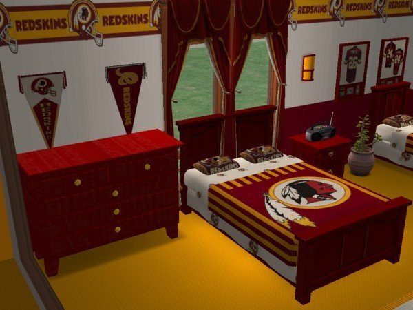 Best Mod The Sims Washington Redskins Bedroom And Living Room With Pictures