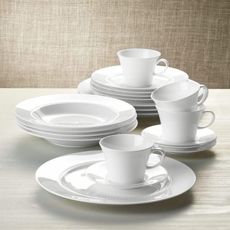 Best White Pearl 20 Piece Dinnerware Set Crate And Barrel With Pictures