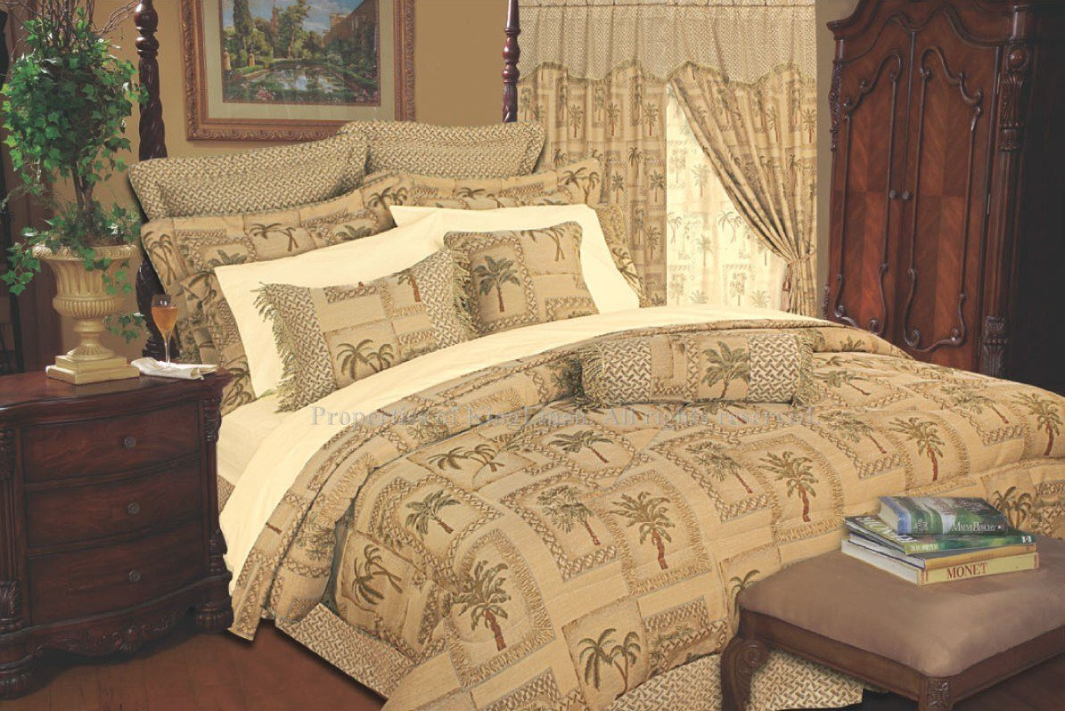 Best 13Pc Tapestry Palm Comforter Curtain Bed In A Bag Queen With Pictures