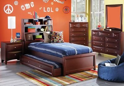 Best Ivy League Cherry 5 Pc Full Bookcase Bedroom T**N Bedroom Sets Dark Wood With Pictures