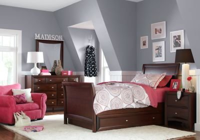 Best Ivy League Cherry 5 Pc Twin Sleigh Bedroom Bedroom Sets With Pictures
