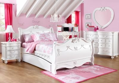 Best Disney Princess White 5 Pc Twin Sleigh Bedroom Girls With Pictures