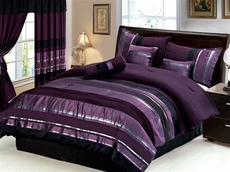 Best New 23 Pc Cal King Royal Purple Black Silver Duvet Cove With Pictures