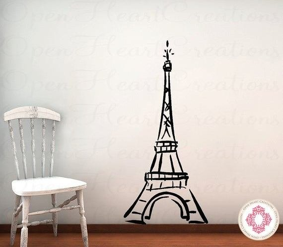 Best Eiffel Tower Vinyl Wall Decal Baby Nursery By Openheartcreations With Pictures